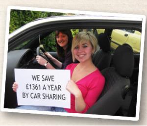 girls liftsharing holding sign showing savings