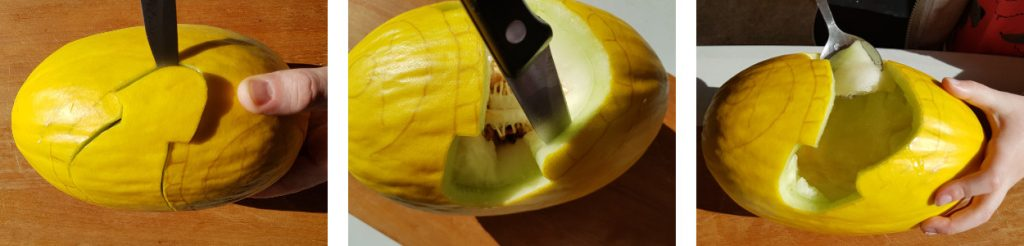 Cutting out the mouth - Minion Melon - Dynamic Dad
