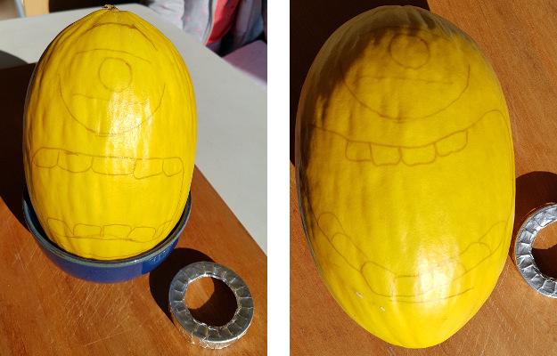 Outline face on the melon - Minion Melon - Dynamic Dad