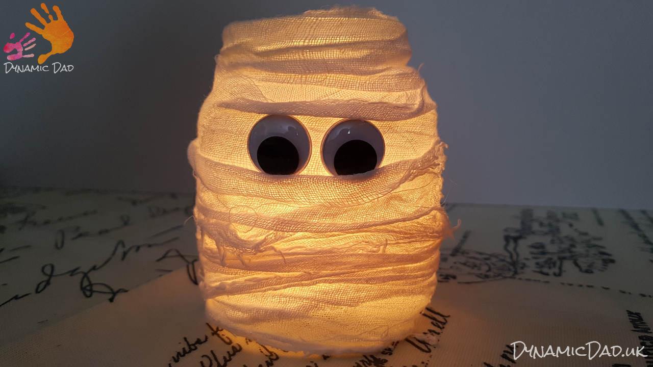 Finished lit halloween mummy lanterns and luminaires - Dynamic Dad