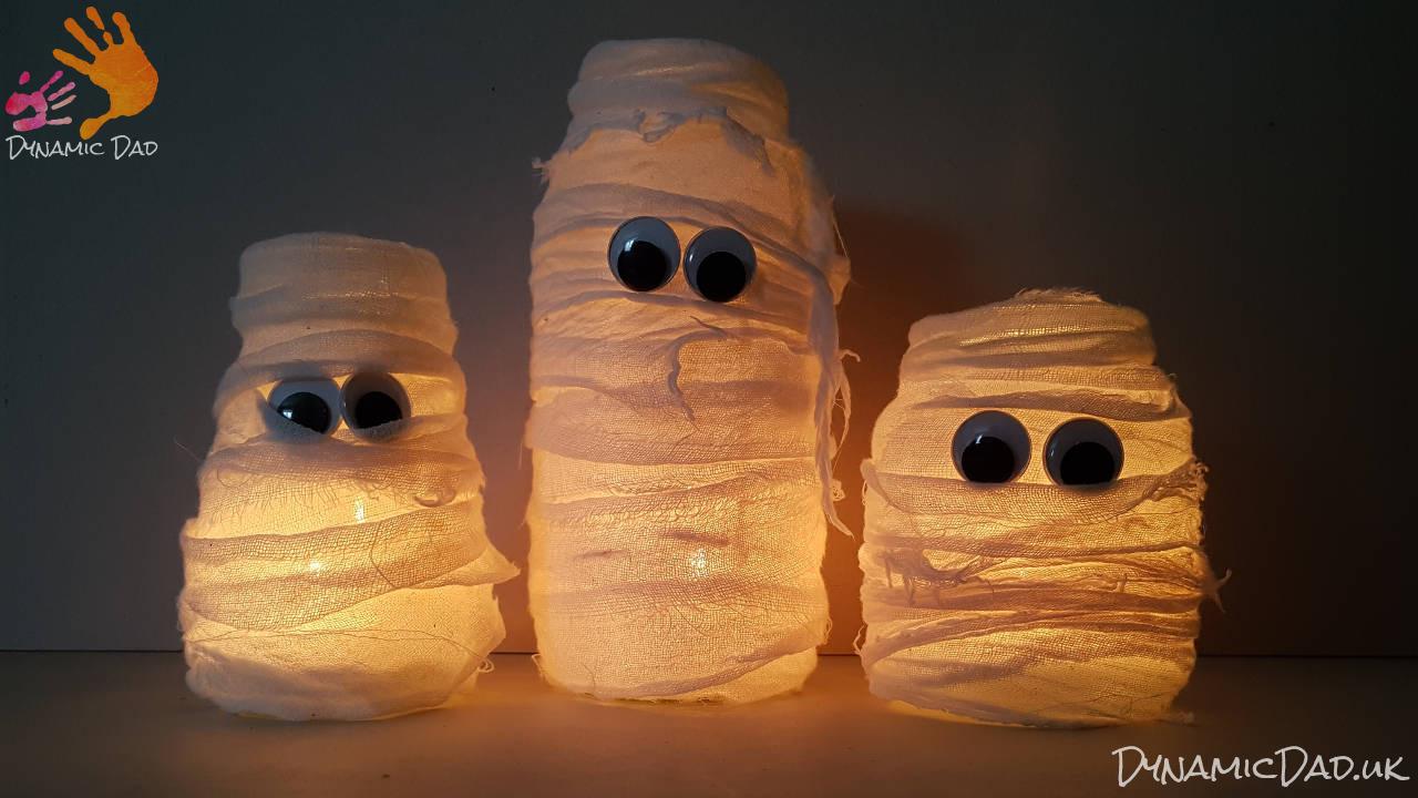 Finished lit halloween mummy lanterns and luminaires set - Dynamic Dad