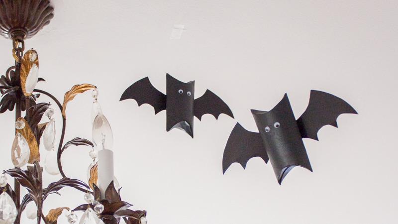 flying toilet roll tube bats - top halloween craft activities - dynamic dad